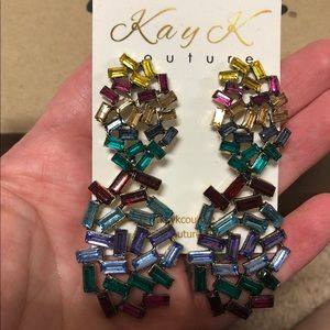 NWT Boutique Kay K Couture rainbow earrings